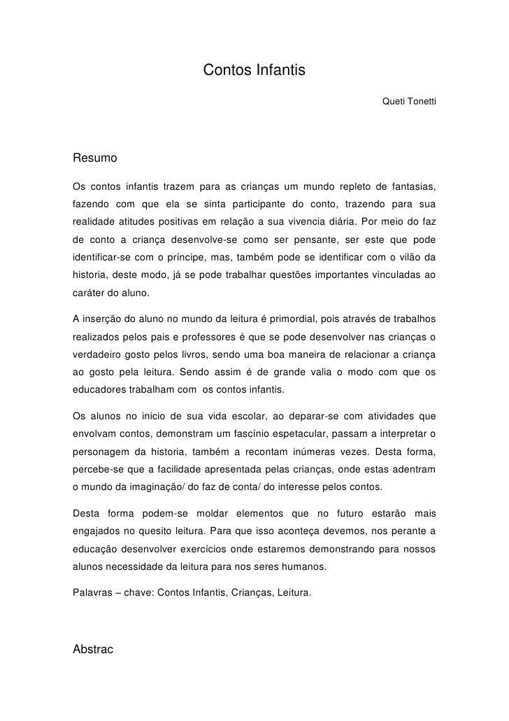 Contos Infantis                                                                   Queti TonettiResumoOs contos infantis tr...