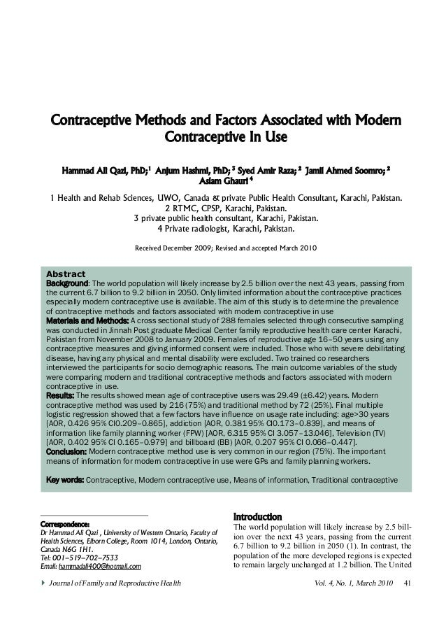 Contraceptive Methods and Factors Associated with Modern                        Contraceptive In Use         Hammad Ali Qa...