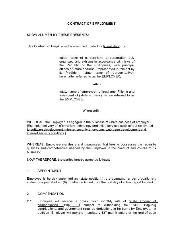 Contract of employment probationary employee for Basic contract of employment template