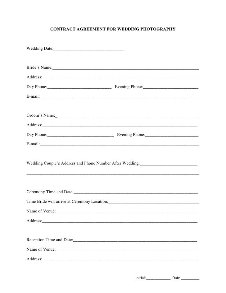 Simple Wedding Photography Contract Template | Best Template Design