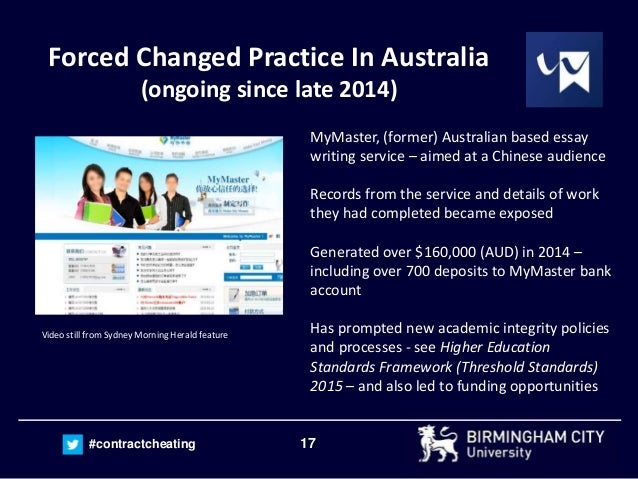 17#contractcheating Forced Changed Practice In Australia (ongoing since late 2014) MyMaster, (former) Australian based ess...