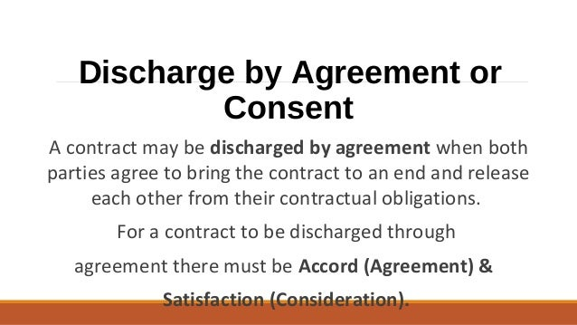 contract discharge by frustration There are four ways in which a contract may be discharged as follows:- performance as required by virtue of the contract) frustration.
