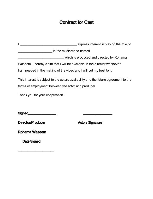 Contract for acting for Acting contract template