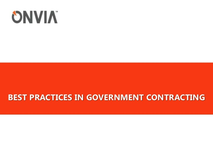 Best practices in government contracting<br />