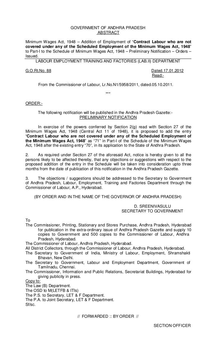 GOVERNMENT OF ANDHRA PRADESH                                  ABSTRACTMinimum Wages Act, 1948 – Addition of Employment of ...