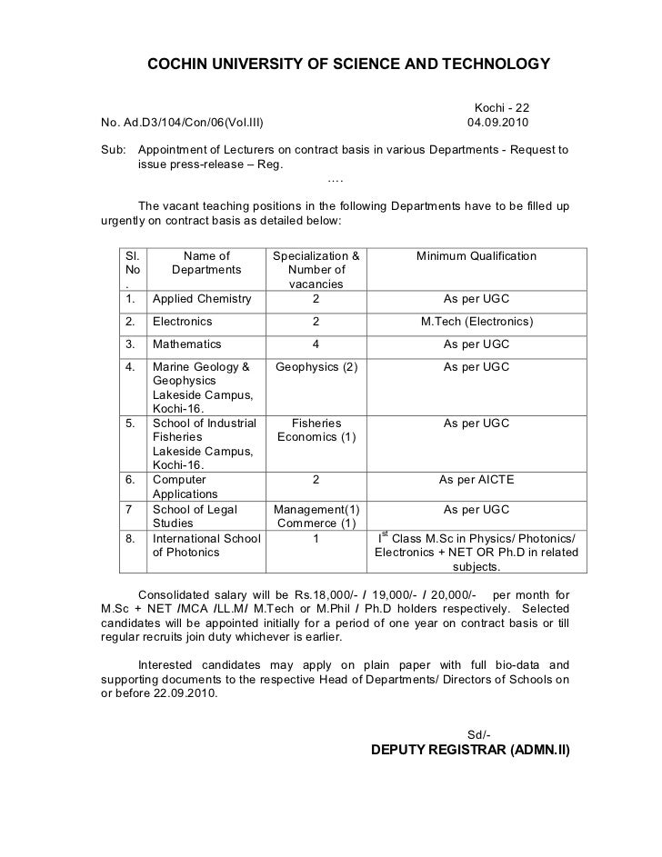 Contract lecturers various_depts