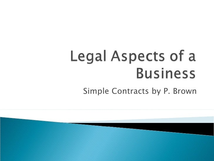 Simple Contracts by P. Brown