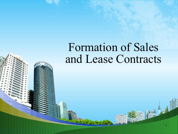 Contract of formation of sales