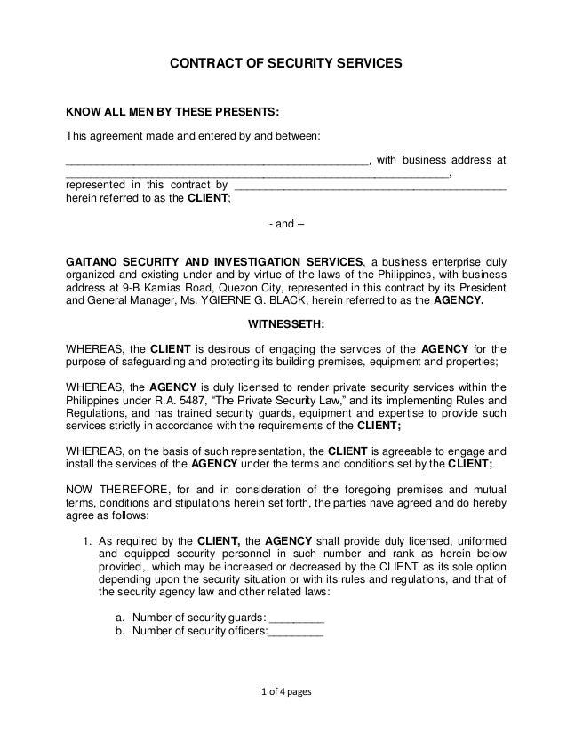 Security dating arrangement contract