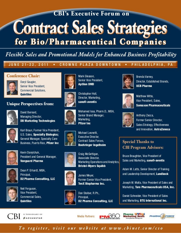 CBI's Executive For um on      Contract Sales Strategies       for Bio/ Pha r maceut ical CompaniesFlexible Sales and Prom...