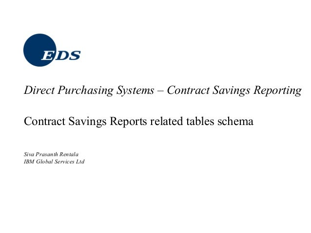 Contract Savings Reports related tables schema Siva Prasanth Rentala IBM Global Services Ltd Direct Purchasing Systems – C...