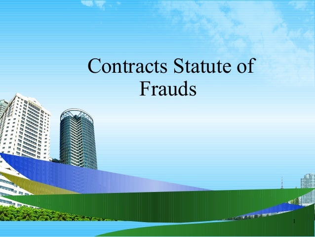 1 Contracts Statute of Frauds