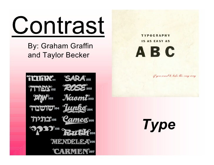 Contrast  By: Graham Graffin  and Taylor Becker                           Type