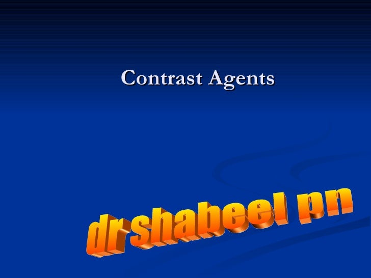 Contrast Agents In Radiology