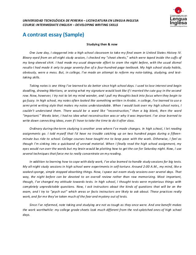 Compare and contrast essay examples college outline font