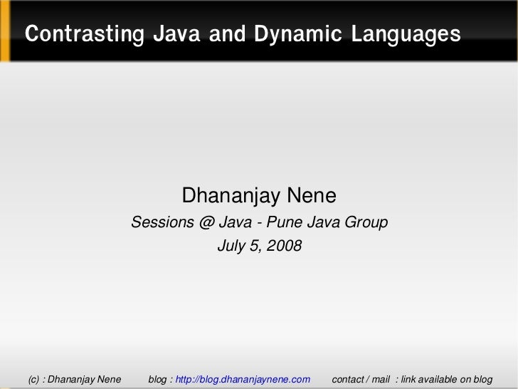Contrasting Java And Dynamic Languages