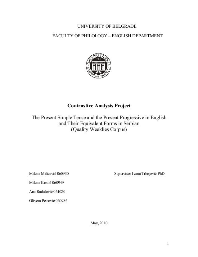 Contrastive analysis: University project, the Present Simple Tense and the Present Progressive in English and their equivalent forms in serbian