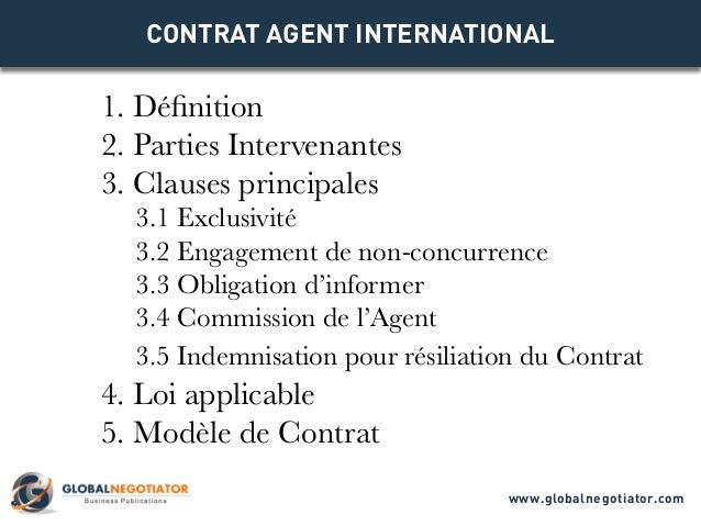 CONTRAT AGENT INTERNATIONAL 1. Définition 2. Parties Intervenantes 3. Clauses principales 3.1 Exclusivité 3.2 Engagement d...