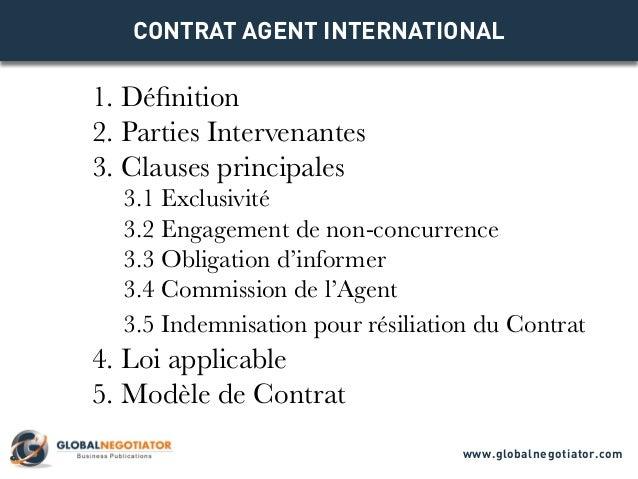 CONTRAT AGENT INTERNATIONAL 1. Définition 2. Parties Intervenantes 3. Clauses principales 3.1 Exclusivité 3.2 Engagement d...