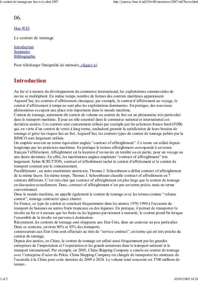06. Hou WEI Le contrat de tonnage Introduction Sommaire Bibliographie Pour télécharger l'intégralité du mémoire, cliquez i...