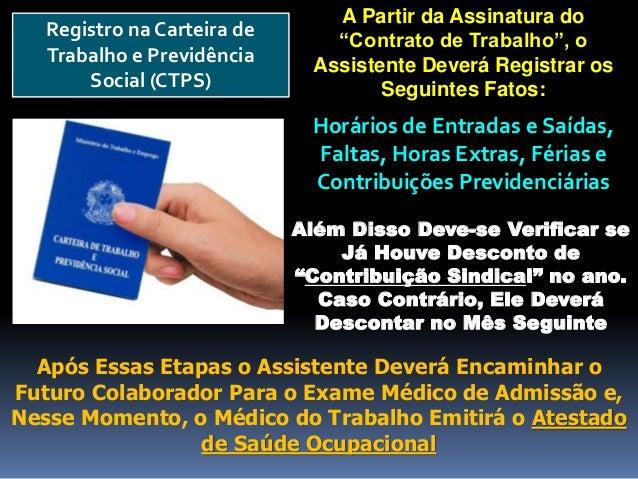 """Registro na Carteira de Trabalho e Previdência Social (CTPS) Além Disso Deve-se Verificar se Já Houve Desconto de """"Contrib..."""