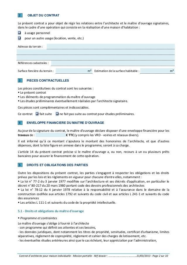 contrat d39 architecte pour maison individuelle mission With contrat d architecte maison individuelle