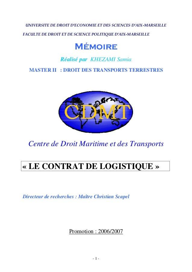 UNIVERSITE DE DROIT D'ECONOMIE ET DES SCIENCES D'AIX-MARSEILLE FACULTE DE DROIT ET DE SCIENCE POLITIQUE D'AIX-MARSEILLE Mé...