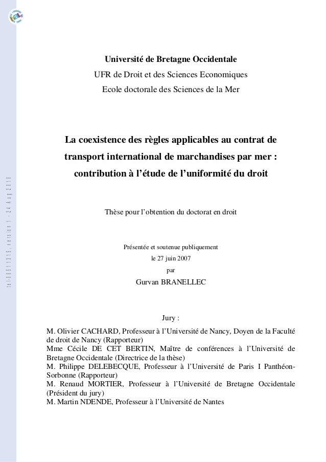 Université de Bretagne Occidentale UFR de Droit et des Sciences Economiques Ecole doctorale des Sciences de la Mer La coex...