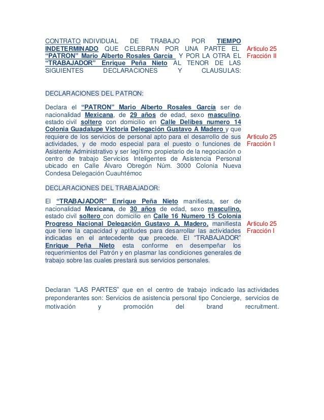 Contrato individual de trabajo por tiempo indeterminado for Contrato indefinido ejemplo