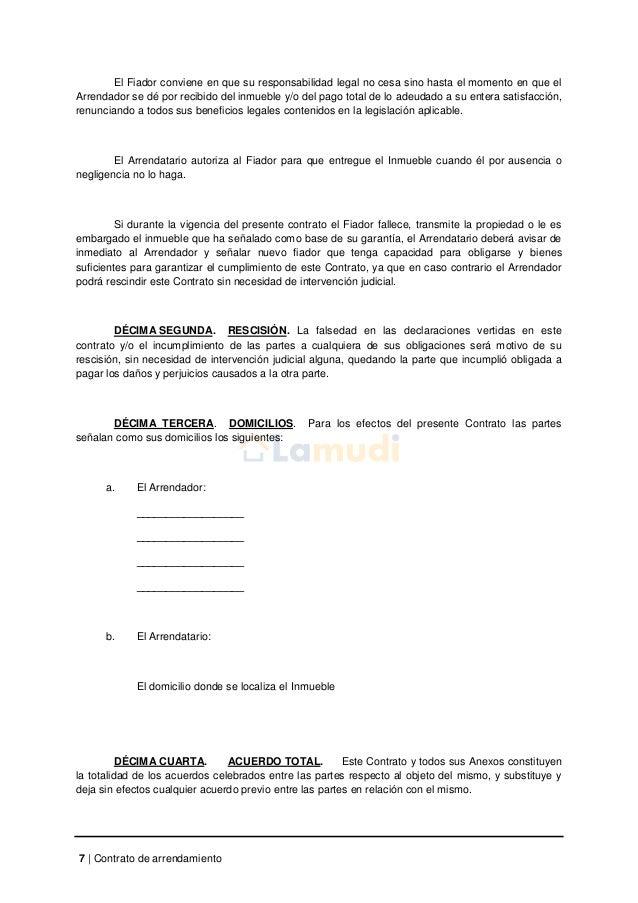 Contrato De Arrendamiento Simple Contrato De