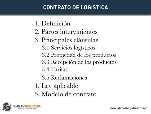 CONTRATO DE LOGíSTICA 1. Definición 2