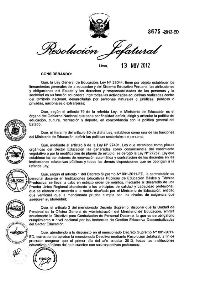 Normas y Procedimientos para Contrato Docente 2013