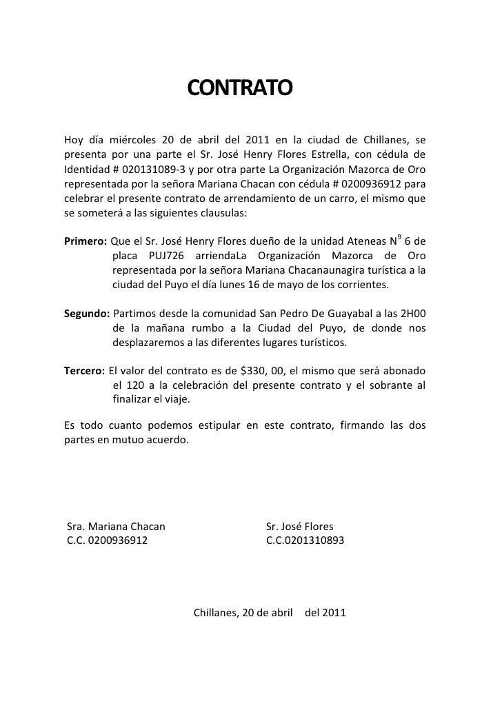 Contrato alquiler de vehiculo for Modelo de contrato de alquiler