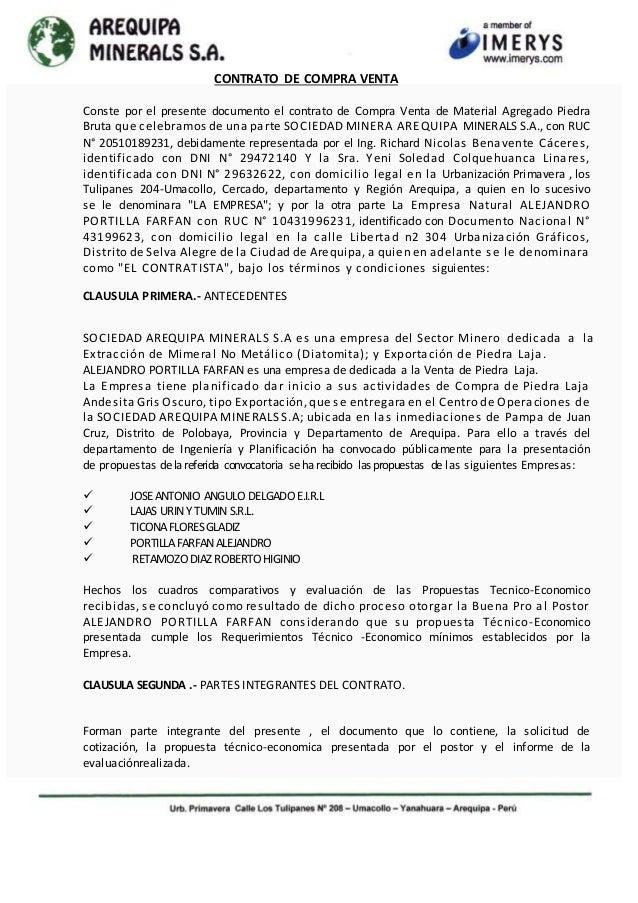 CONTRATO DE COMPRA VENTA  Conste por el presente documento el contrato de Compra Venta de Material Agregado Piedra  Bruta ...