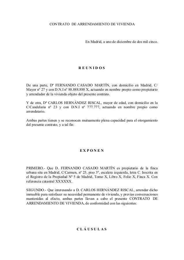 Formato De Contrato De Arrendamiento Para Imprimir Gratis