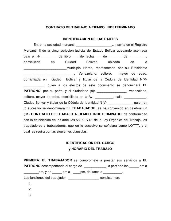 Contrato de trabajo for Modelo contrato empleada de hogar indefinido