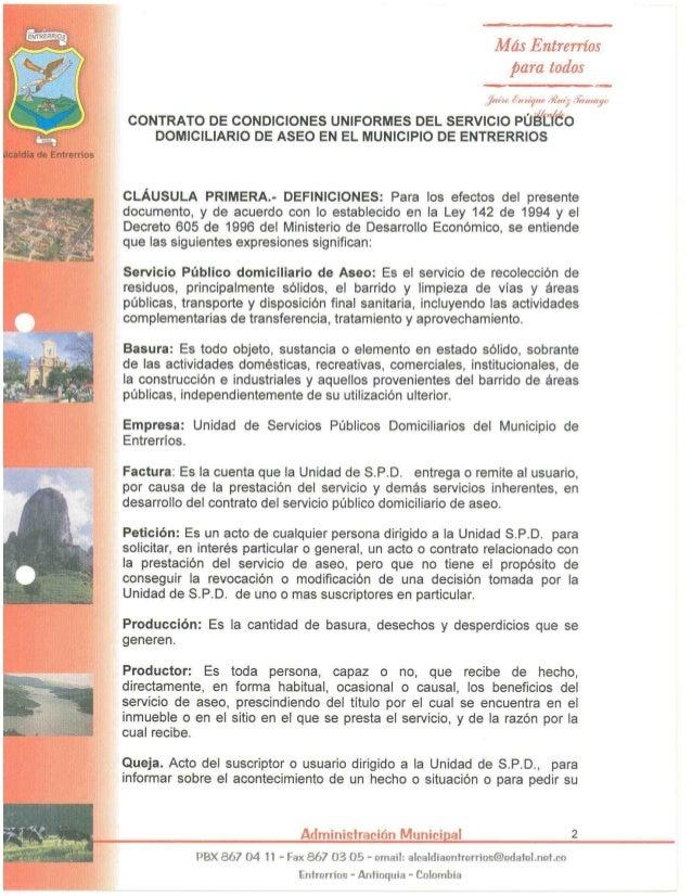 Más Entrerríos  para todos  juin:  ¿n Mym» fiïw';  JÍIMIry  CONTRATO DE CONDICIONES UNIFORMES DEL SERVICIO PÚE/ IÏÚO DOMICI...
