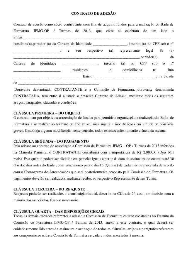 CONTRATO DE ADESÃOContrato de adesão como sócio contribuinte com fins de adquirir fundos para a realização do Baile deForm...