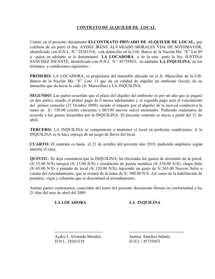 Contrato de alquiler de local for Contrato documento