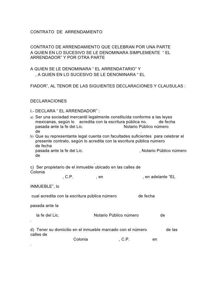 Formato De Contrato De Arrendamiento