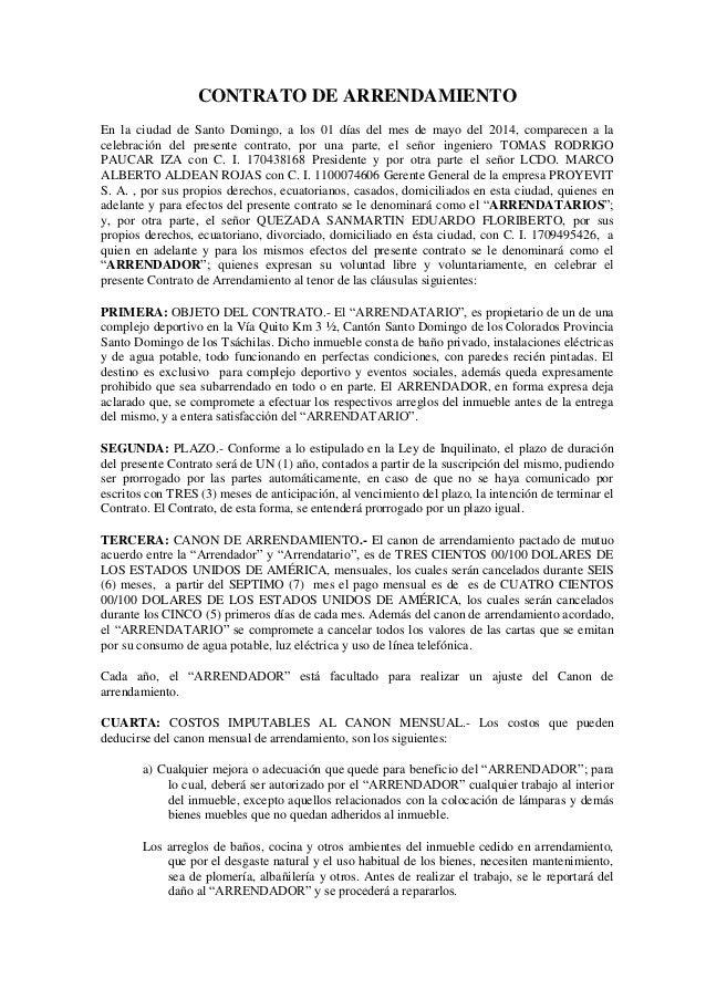 Modelo Contrato Arrendamiento 2015