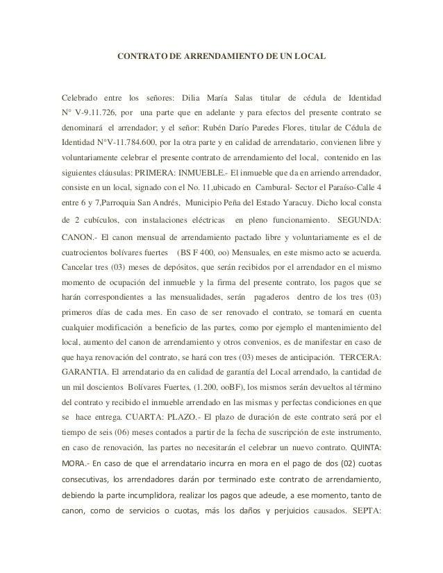 Contrato de arrendamiento de un local for Contrato documento