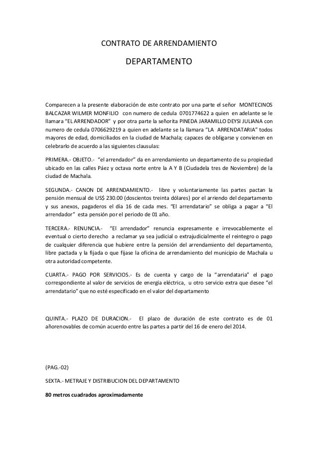 contrato de arrendamiento wilmer