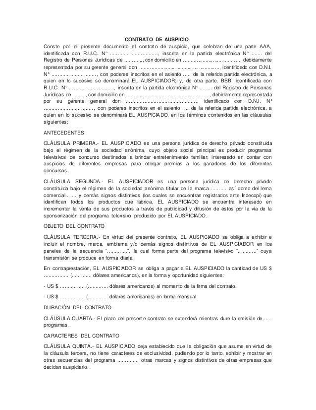 CONTRATO DE AUSPICIO  Conste por el presente documento el contrato de auspicio, que celebran de una parte AAA,  identifica...