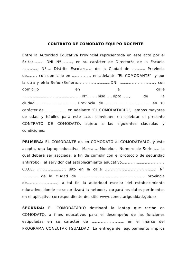 CONTRATO DE COMODATO EQUIPO DOCENTEEntre la Autoridad Educativa Provincial representada en este acto por elSr./a:…….., DNI...