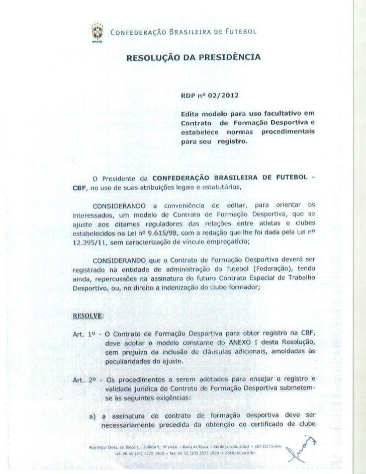 Contrato de formação deportiva da cbf