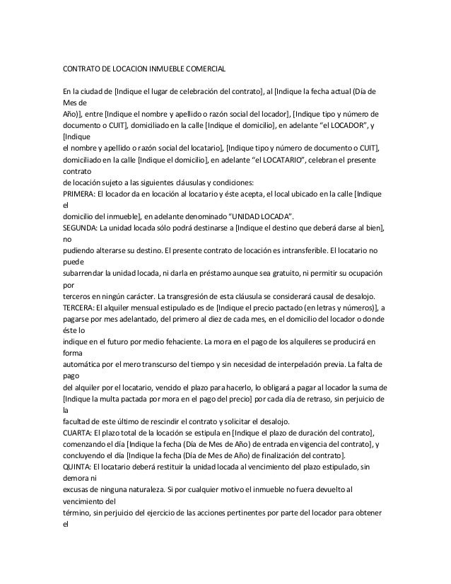 Contrato De Locacion Inmueble Comercial