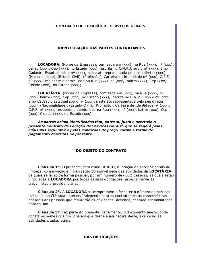 CONTRATO DE LOCAÇÃO DE SERVIÇOS GERAIS                                  ..                 IDENTIFICAÇÃO DAS PARTES CONTRA...