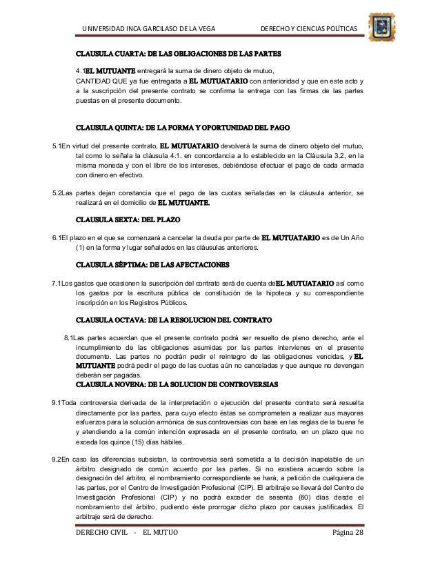 El contrato de mutuo andr s cusi arredondo for Clausula suelo y dacion en pago