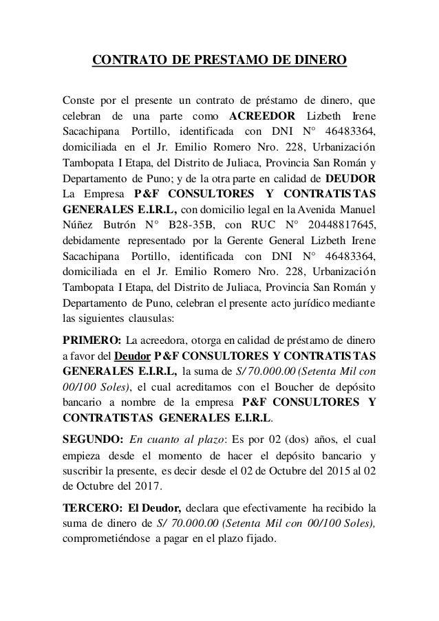 Contrato de prestamo de dinero for Clausula suelo firma acuerdo privado
